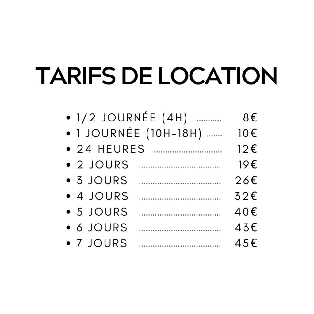 tarif location vélos enfants