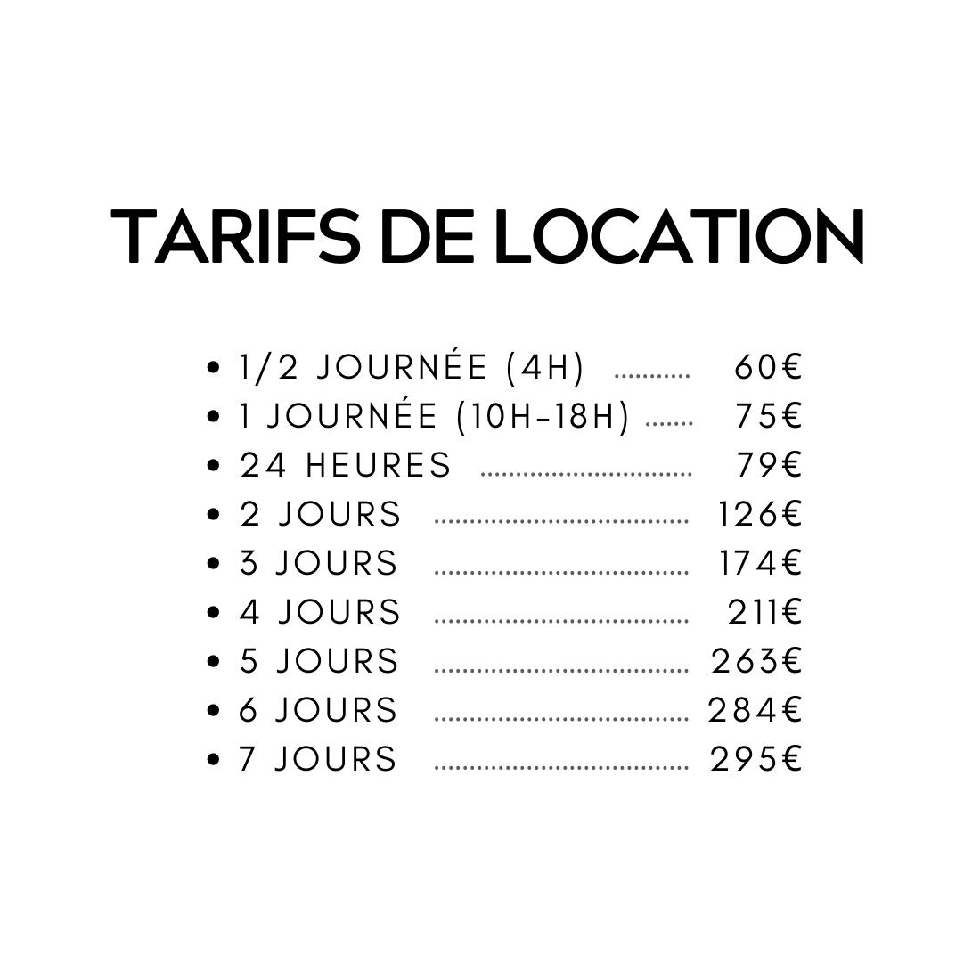 Tarif location VTTAE tout-suspendu