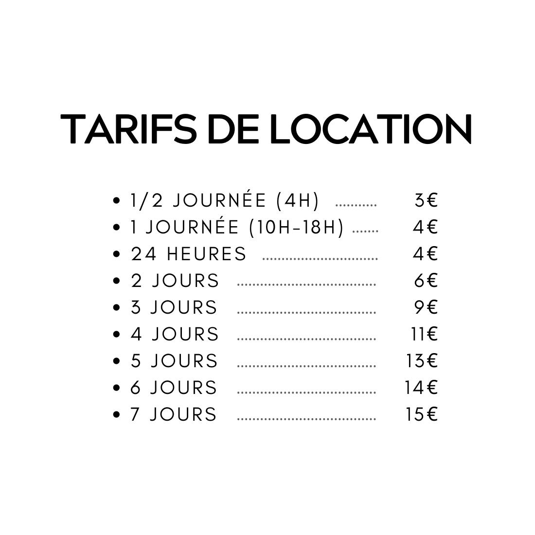 tarif location accessoires